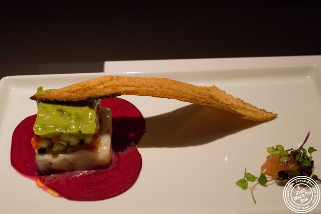 image of New Bedford sea scallops, beets and pane musica at Aroma Kitchen and Wine Bar