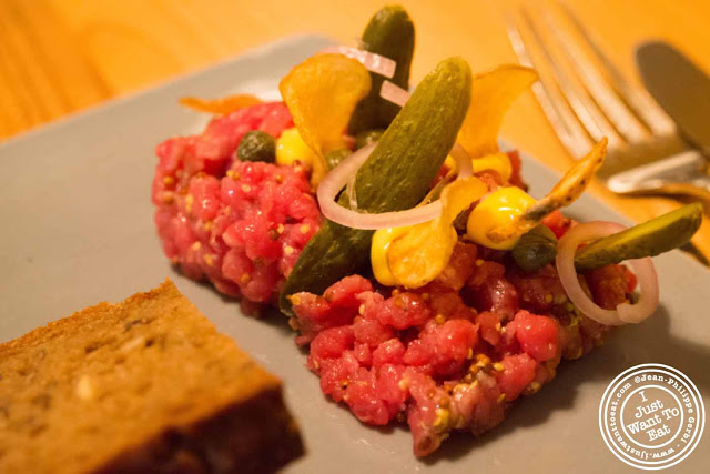 Image of beef tartare at Aamanns-Copenhagen in Tribeca, NYC, New York