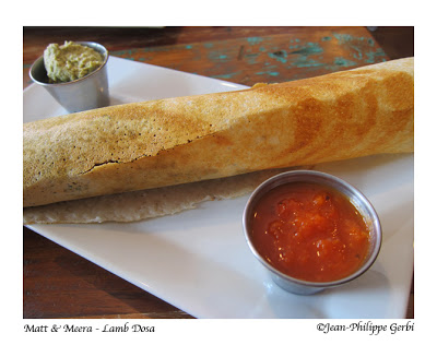 Lamb dosa at Matt and Meera Indian restaurant in Hoboken, NJ New Jersey