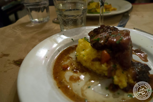 image of polenta and oxtail at  Dark Dining Projects - blindfolded dinner at Camaje bistro in Greenwich Village, NYC, New York