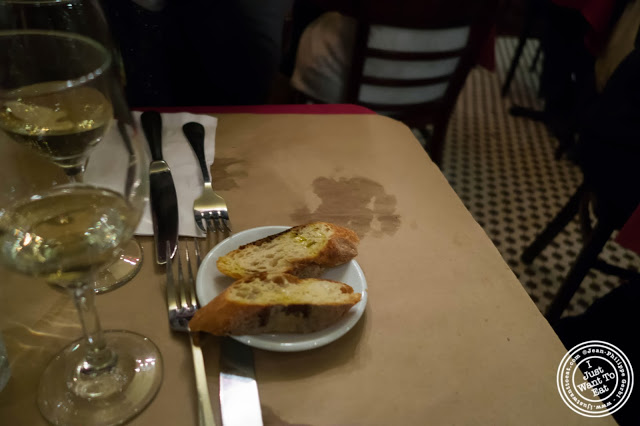 image of garlic bread at  Dark Dining Projects - blindfolded dinner at Camaje bistro in Greenwich Village, NYC, New York