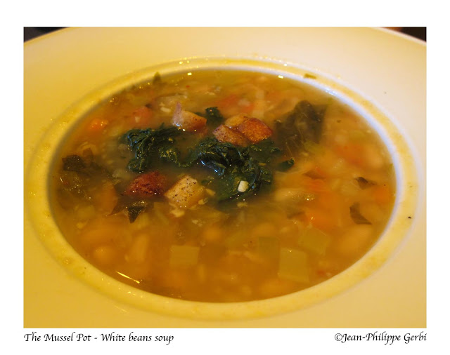 Image of White bean soup at The Mussel Pot in Greenwich Village NYC, New York