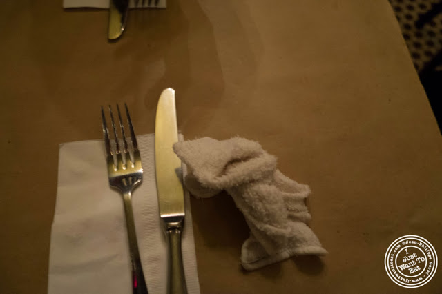 image of wet towel for Dark Dining Projects - blindfolded dinner at Camaje bistro in Greenwich Village, NYC, New York