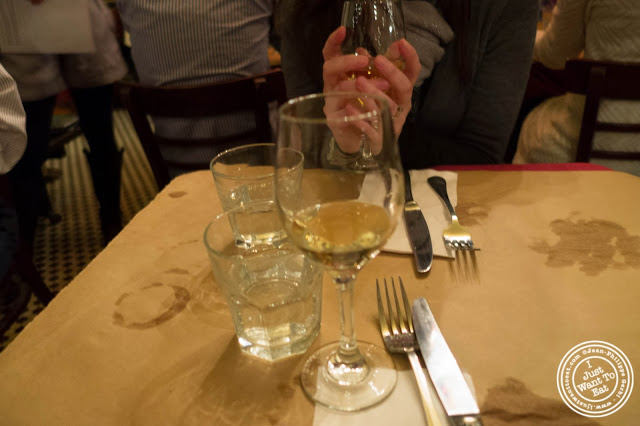 image of white wine at  Dark Dining Projects - blindfolded dinner at Camaje bistro in Greenwich Village, NYC, New York