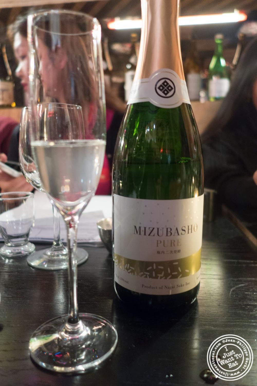 image of Mizubasho Sparkling Sake at Nipponista Maison O in Soho, NYC, New York