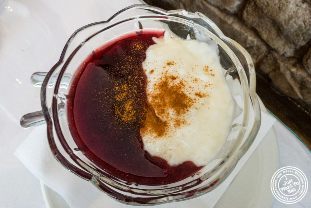 image of mazamorra morada or purple corn pudding at El Anzuelo Fino in Woodhaven, NY