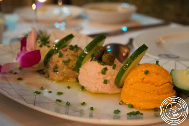 Image of Mediterranean dips at Thalassa Greek restaurant in Tribeca NYC, New York
