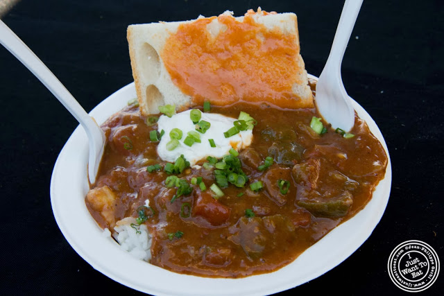 image of alligator chili from Brooklyn Bayou at Smorgasburg in Brooklyn, NY