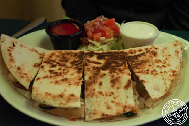 Image of vegetable quesadilla at Trece Mexican Restaurant in NYC, New York