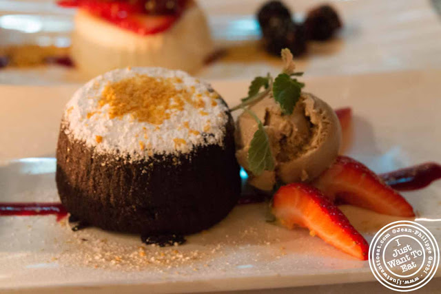 Image of Valrhona chocolate molten cake at Thalassa Greek restaurant in Tribeca NYC, New York
