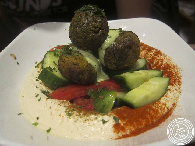 Image of falafel hummus plate at Nanoosh Mediterranean Cuisine in Greenwich Village, NYC, New York