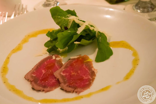 image of beef carpaccio at Incognito Bistro in NYC, New York