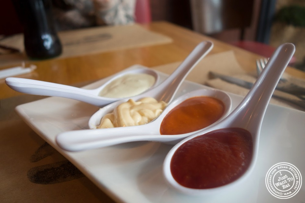 image of sauces at Umami Burger in NYC, New York