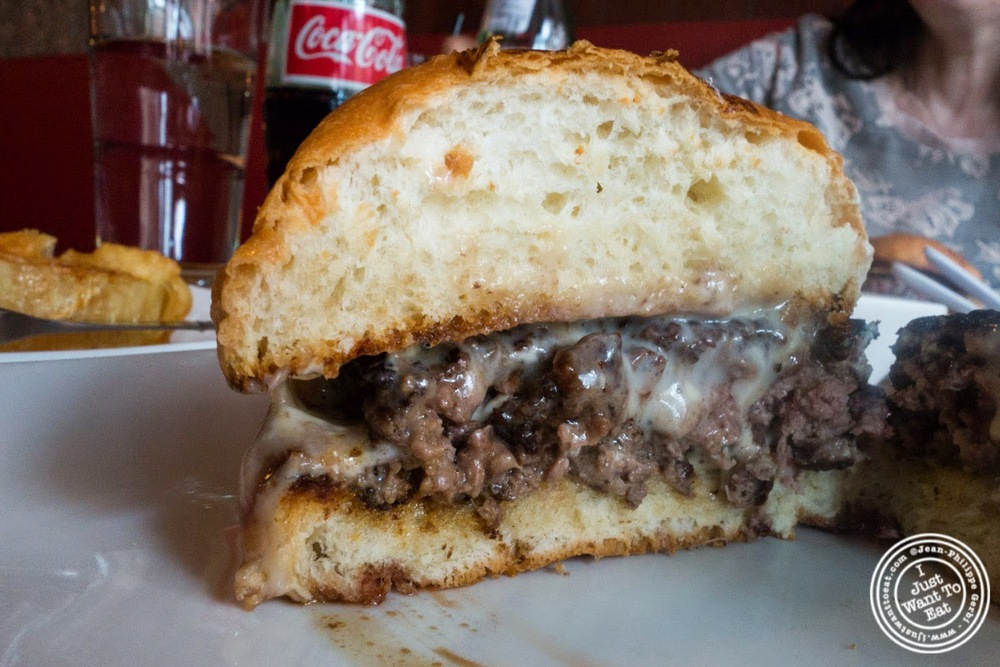 image of the truffle burger at Umami Burger in NYC, New York
