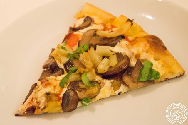 image of mushrooms and fennel pizza at Incognito Bistro in NYC, New York