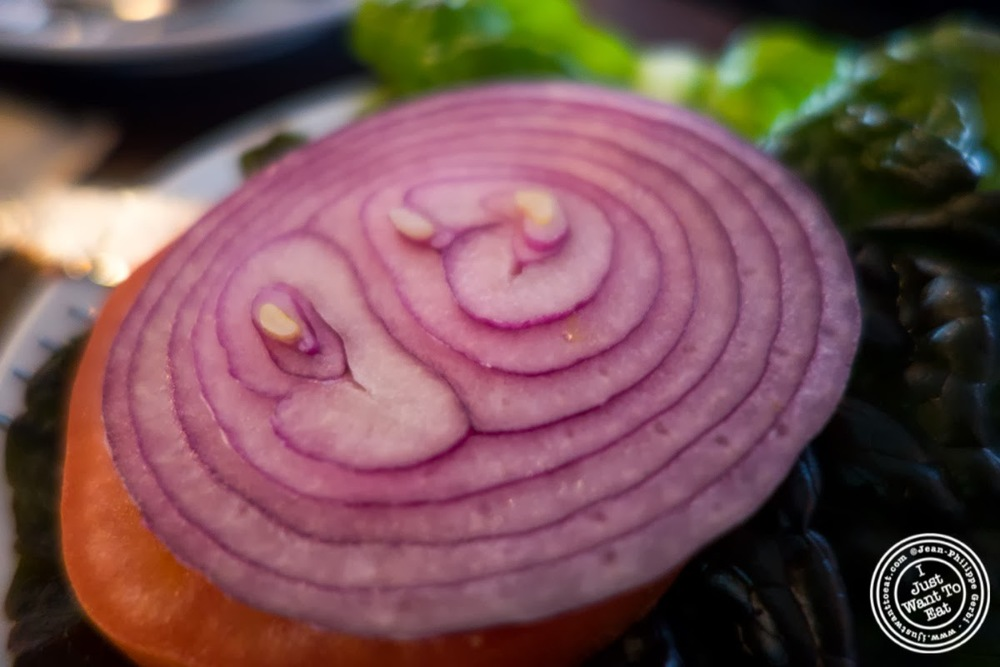 image of onion on Hoboken burger at City Bistro in Hoboken, NJ
