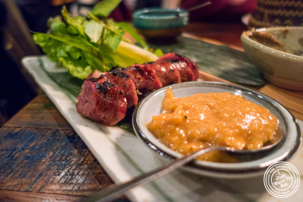image of grilled Laos style sausage at Khe-Yo in Tribeca, NYC, NY