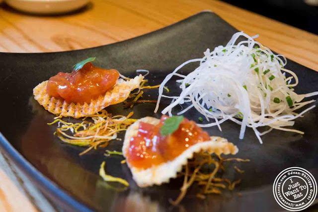 Image of Spicy Miso Chips with bigeye tuna at Nobu in Tribeca NYC, New York