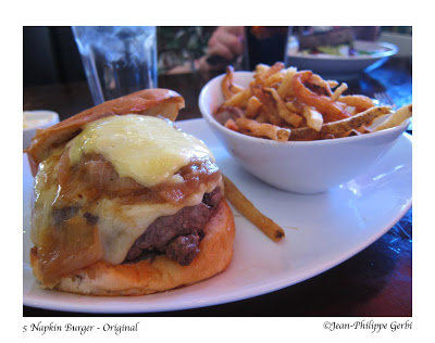 Image of Original burger at 5 Napkin Burger restaurant in Hell's Kitchen NYC, New York