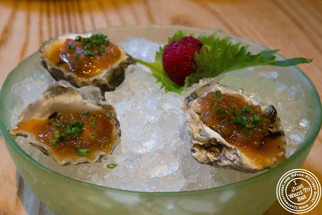 Image of Oysters with Maui Onion Salsa at Nobu in Tribeca NYC, New York