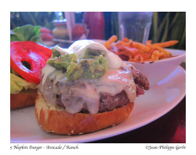Image of Avocado Ranch burger at 5 Napkin Burger restaurant in Hell's Kitchen NYC, New York