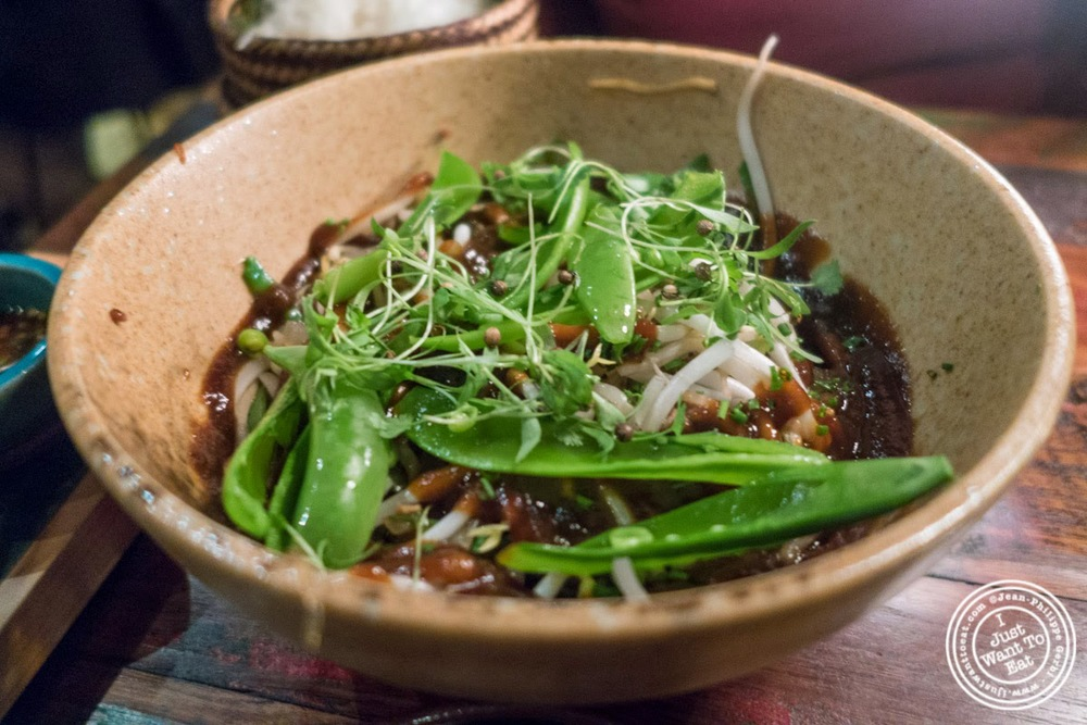 image of wok fried glass noodles at Khe-Yo in Tribeca, NYC, NY