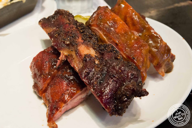 image of rib sampler at Blue Smoke in NYC, New York