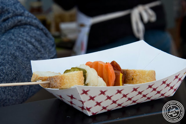 image of Veggies and bread skewer from Cheese Pops at Smorgasburg in Brooklyn, NY