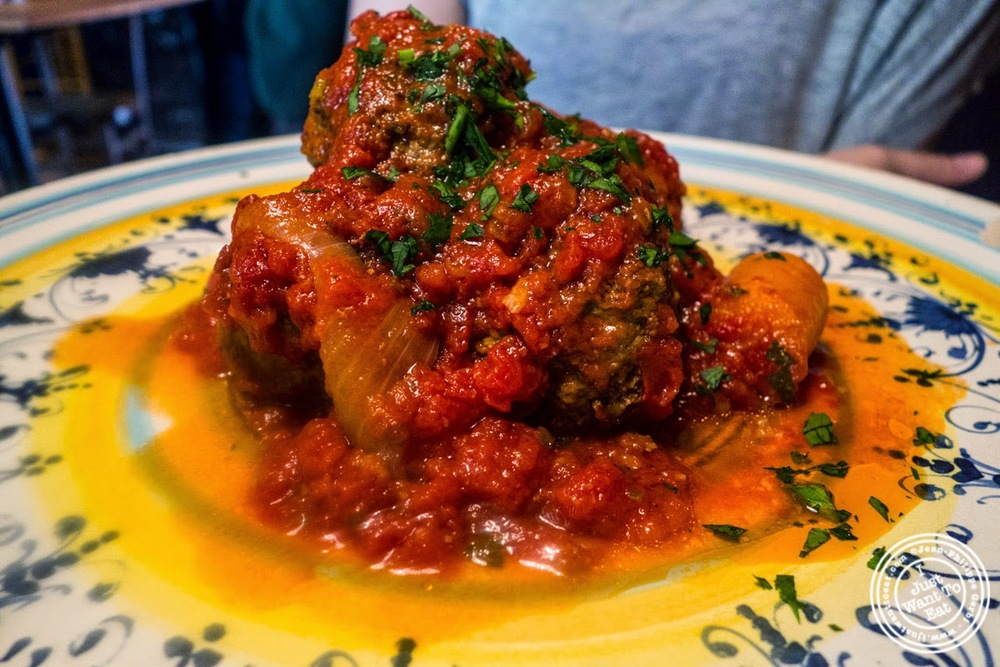 image of meatballs or polpete al sugo at Osteria Santo Spirito in Florence, Italy