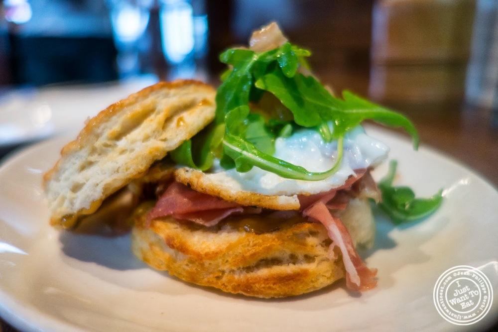 image of Ham and egg sandwich at Momofuku Ssam Bar in the East Village