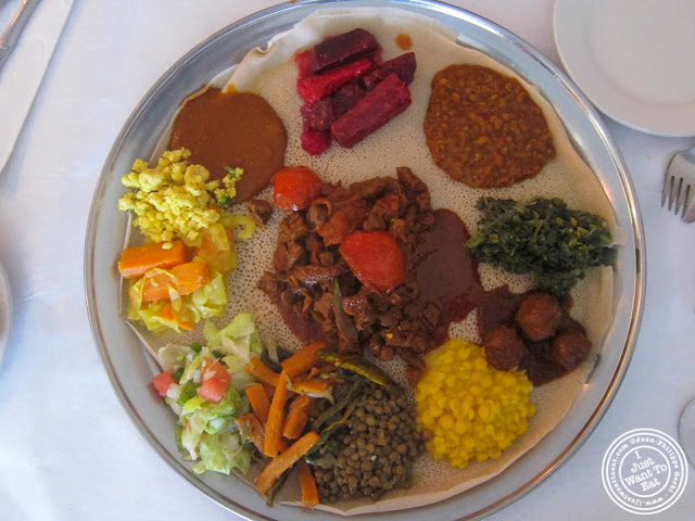image of combination plate at Awash Ethiopian restaurant in Brooklyn, New York