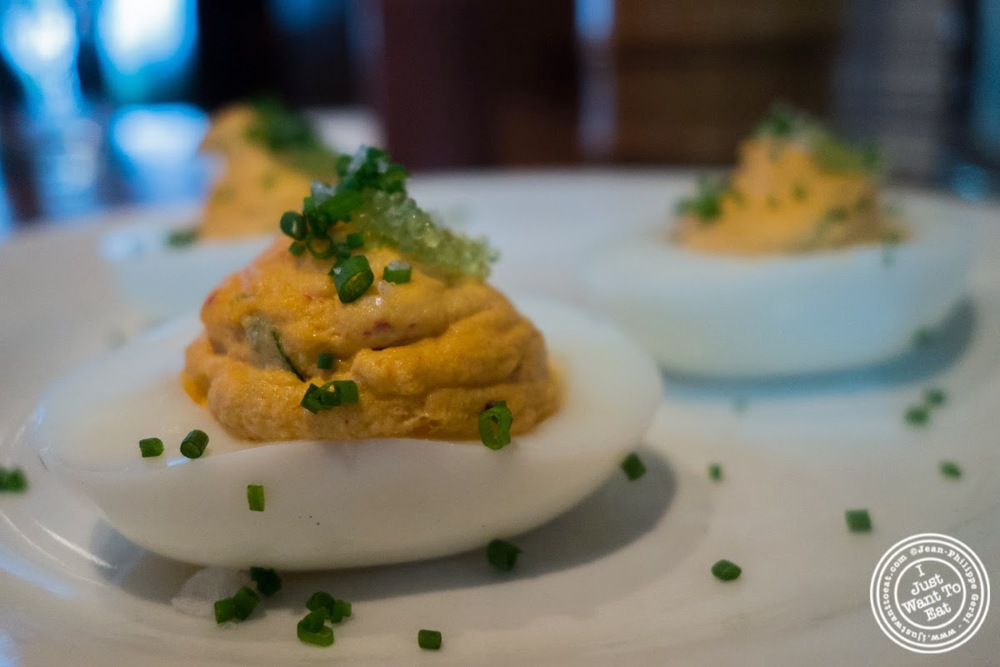 Kimchi Deviled eggs at Momofuku Ssam Bar in the East Village