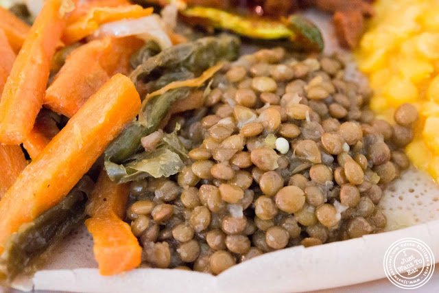 image of brown whole lentils at Awash Ethiopian restaurant in Brooklyn, New York