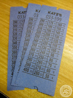 image of tickets at Katz's Deli in NYC, New York