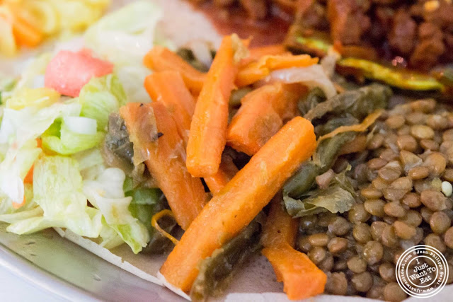 image of string beans and carrots at Awash Ethiopian restaurant in Brooklyn, New York