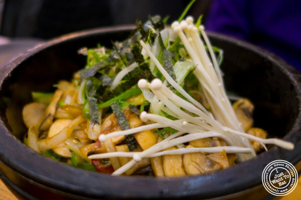 image of mushrooms bibimbap at Korea spoon in KTown NYC, New York