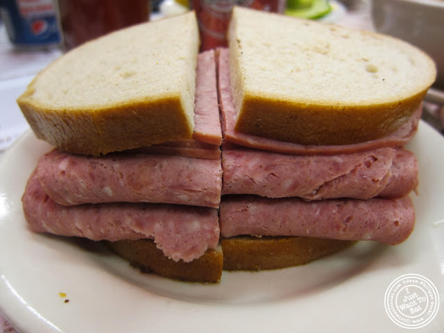 image of salami sandwich at Katz's Deli in NYC, New York