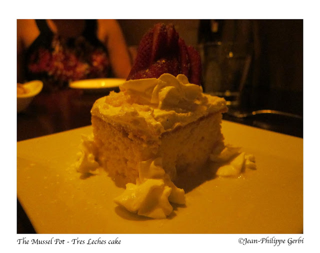 Image of Tres Leches cake at The Mussel Pot in Greenwich Village NYC, New York