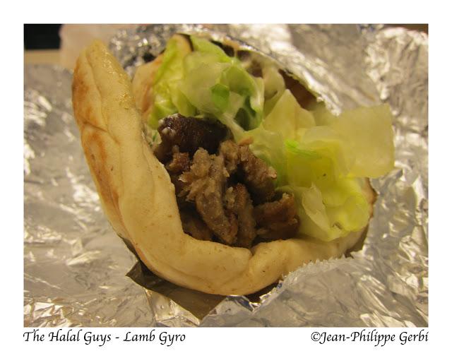 Image of Lamb Gyro at The Halal Guys Food cart in NYC, New York