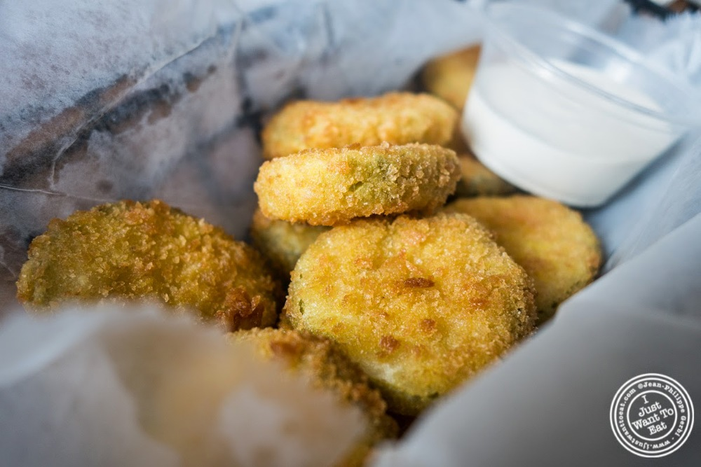 image of fried pickles at Brother Jimmy's BBQ, nyc, ny