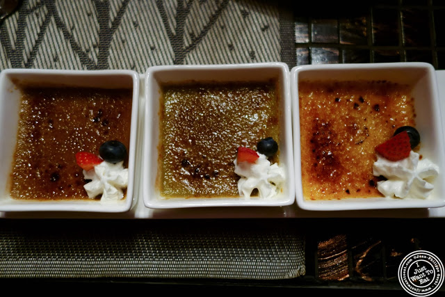 image of trio of creme brulee at Fushimi in Bay Ridge, Brooklyn, New York