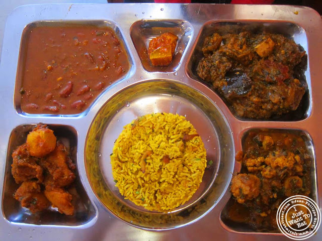 vegetarian thali at Hoboken Dhaba, New Jersey NJ