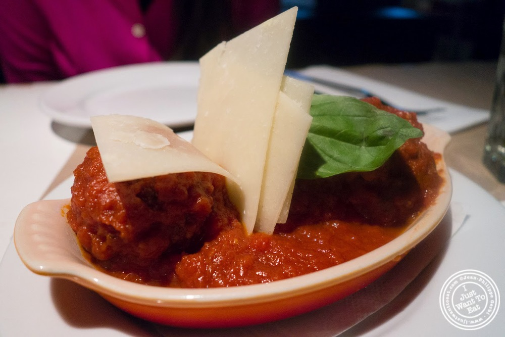 image of meatballs at Pizzeria Ribalta in NYC, New York