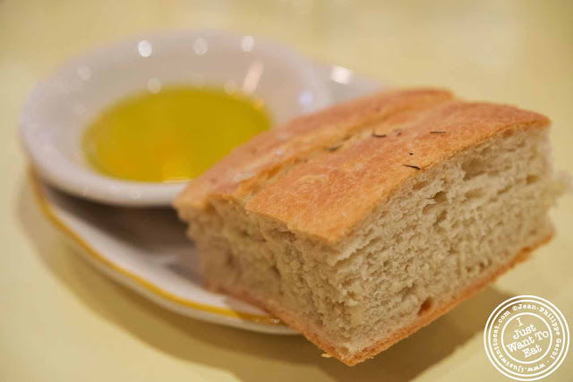 Image of Focaccia bread and olive oil at Nizza, Italian Trattoria in Hell's Kitchen, NYC, New York