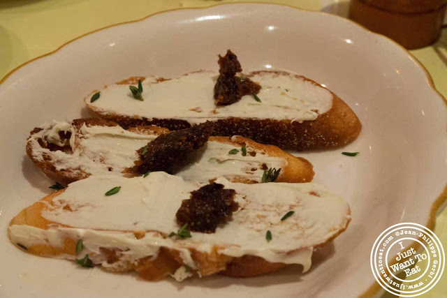 Image of Gorgonzola crostini at Nizza, Italian Trattoria in Hell's Kitchen, NYC, New York