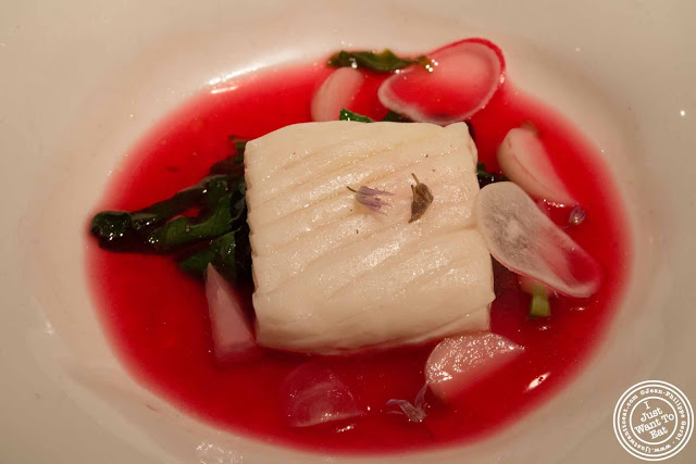 image of Halibut with beet dashi at Gramercy Tavern in NYC, New York