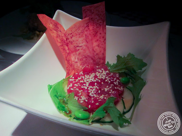 image of ahi tuna tartare at 21 Club in NYC, New York