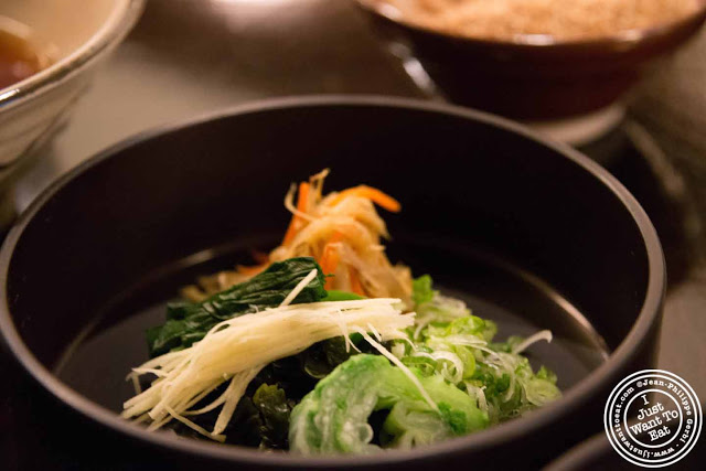 Image of Veggies for noodle soup at Omen Japanese restaurant in Soho NYC, New York