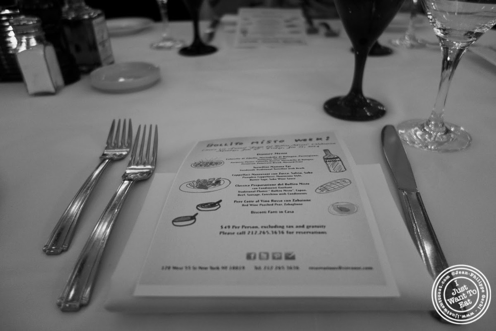 image of table and menu at Circo in NYC, New York