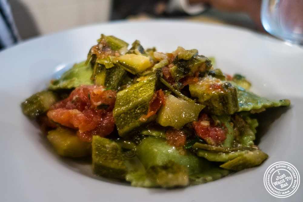image of ravioli with zucchini at Trattoria Mario, communal dining in Florence, Italy